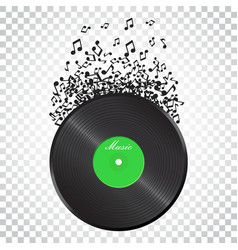 Vinyl disk with flying sound note music disk vector