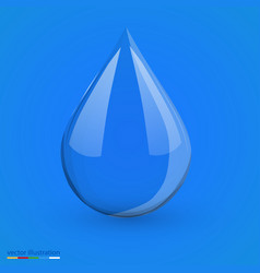 water drop on blue isolated vector image vector image