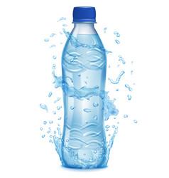 Water splashes around a plastic bottle vector