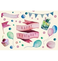 Watercolor Happy birthday set Hand drawn vintage vector image