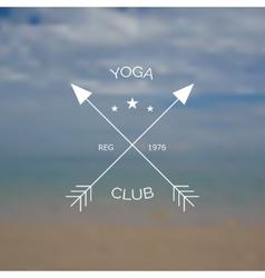 Yoga club logo on blurry photo of sea vector