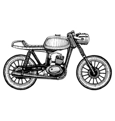 Hand-painted retro motorcycle vector