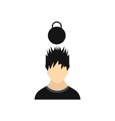 Man with the weight over his head icon flat style vector