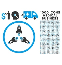 Rockets icon with 1000 medical business pictograms vector