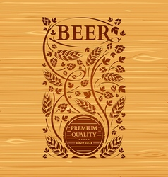 Beer emblem with hops and malt vector