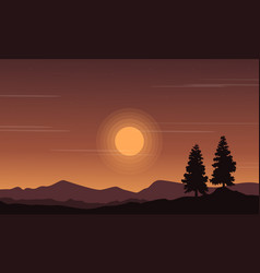 Landscape of hill at the sunset silhouettes vector