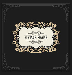 Calligraphic elegant ornament frame lines vector