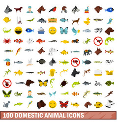 100 domestic animal icons set flat style vector
