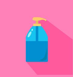 Liquid soap dispenser pump round plastic bottle vector