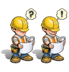 Construction worker reading plan vector