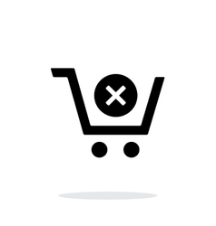 Shopping cart delete simple icon on white vector
