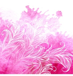 Watercolor background feathers and leaves vector