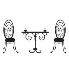 Retro table and two chairs vector