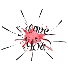 Hand lettering with text - i love you vector
