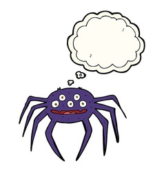 cartoon halloween spider with thought bubble vector image