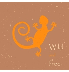 Decorative lizard with old print vector