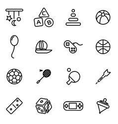 Line toys icon set vector