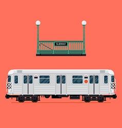 Subway Train Icon Set vector image