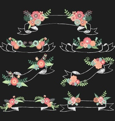 Chalkboard wedding flora with banners vector