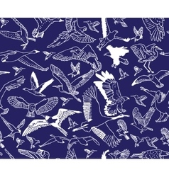 Birds night blue seamless pattern wallpaper vector image vector image