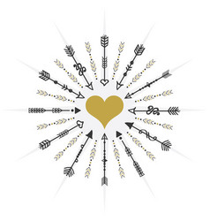 Black and golden circle heart targeting arrows vector