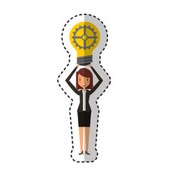 businesswoman with gear avatar character icon vector image