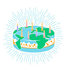 Cake icon with candles vector