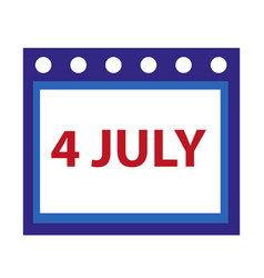calendar icon flat style 4th july concept vector image