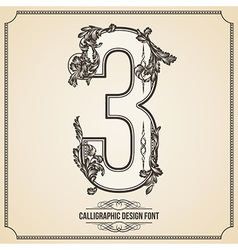 Calligraphic font Number 3 vector image vector image