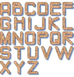 cork texture alphabet vector image vector image