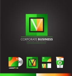 Corporate square letter v logo icon design vector