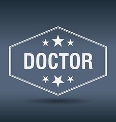 Doctor hexagonal white vintage retro style label vector