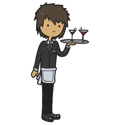 Doodle style cartoon waiter vector