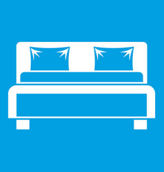 double bed icon white vector image