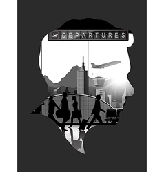 Double exposure with airport background vector image vector image