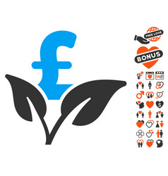 eco pound business startup icon with love bonus vector image vector image