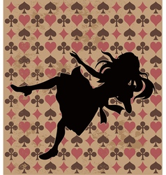 Falling alice silhouette vector