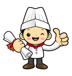 Funny chef character academic graduation isolated vector