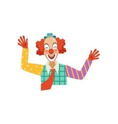 happy funny circus clown cartoon friendly clown vector image vector image
