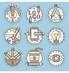 Icons in modern linear style vector