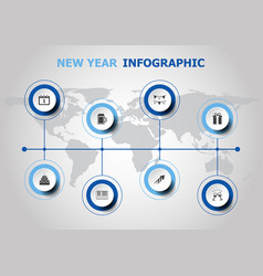 Infographic design with new year icons vector