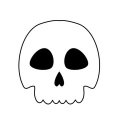 Line skull danger and caution alert vector