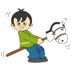 little boy playing with a wooden horse vector image