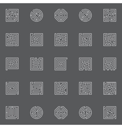 Maze line icons vector image