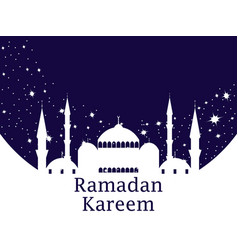 Mosque and stars ramadan kareem muslim holiday vector