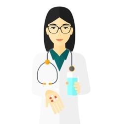 Pharmacist giving pills vector