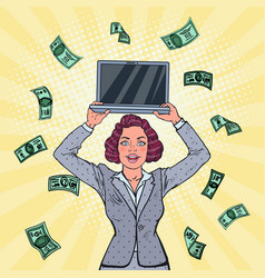 Pop art business woman with laptop and money vector
