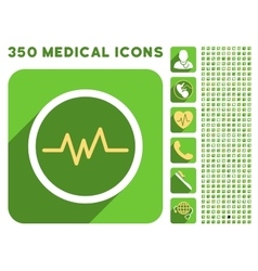 Pulse Monitoring Icon and Medical Longshadow Icon vector image