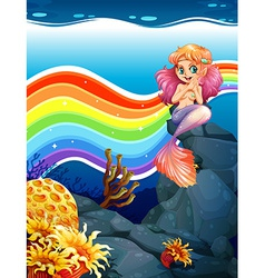 Rainbow and mermaid vector image