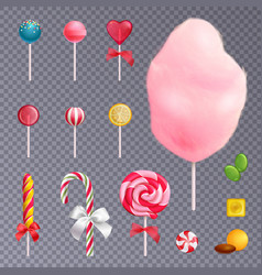 Realistic sweets transparent background set vector